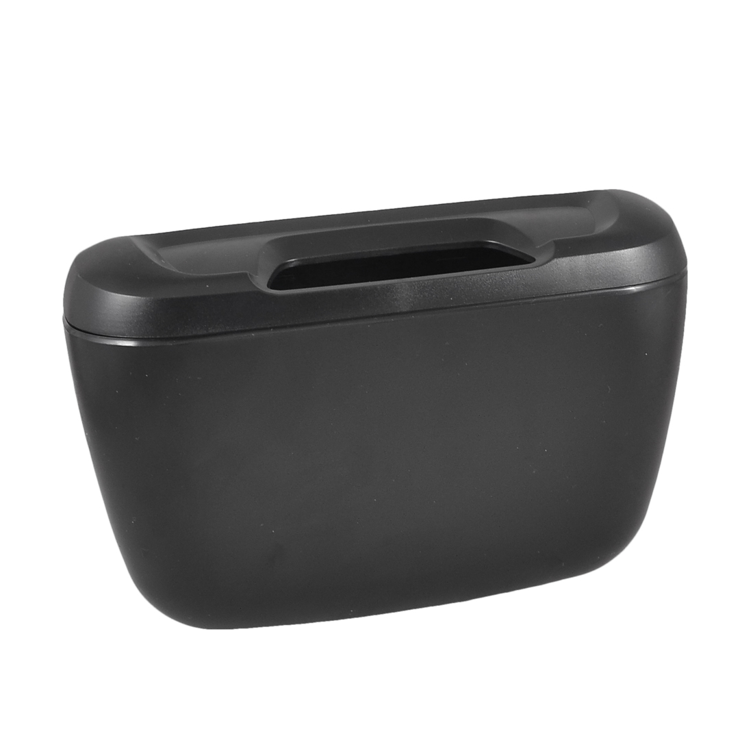 Black Plastic Automobile Goods Cars Trash Bin Garbage Box w Hook