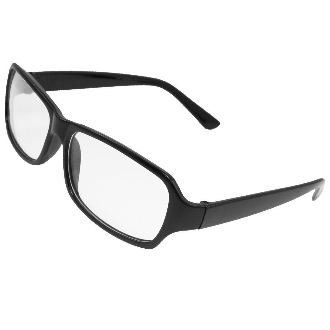 Man Woman Black Plastic Full Frame Clear Len Plain Glasses