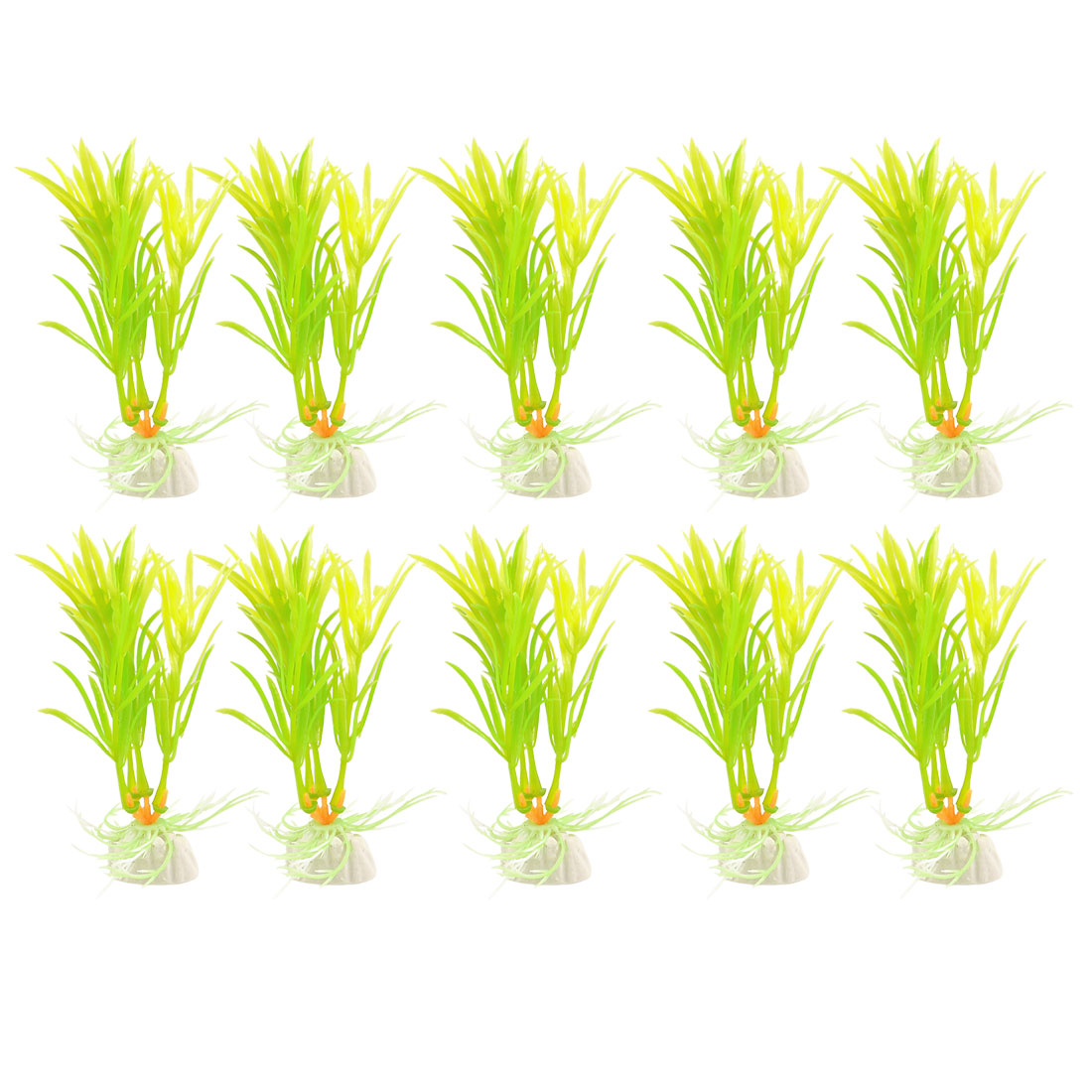 "10 Pcs 4.3"" Height Green Yellow Plastic Grass Plant Ornament"
