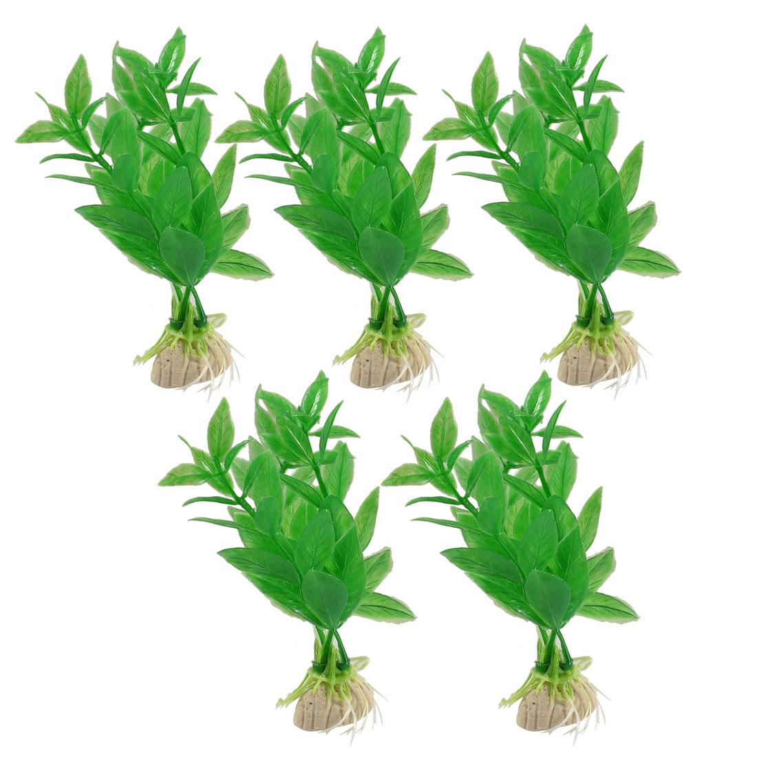 5 Pcs Ceramic Base Lifelike Green Plastic Plants Grass Plants Decoration