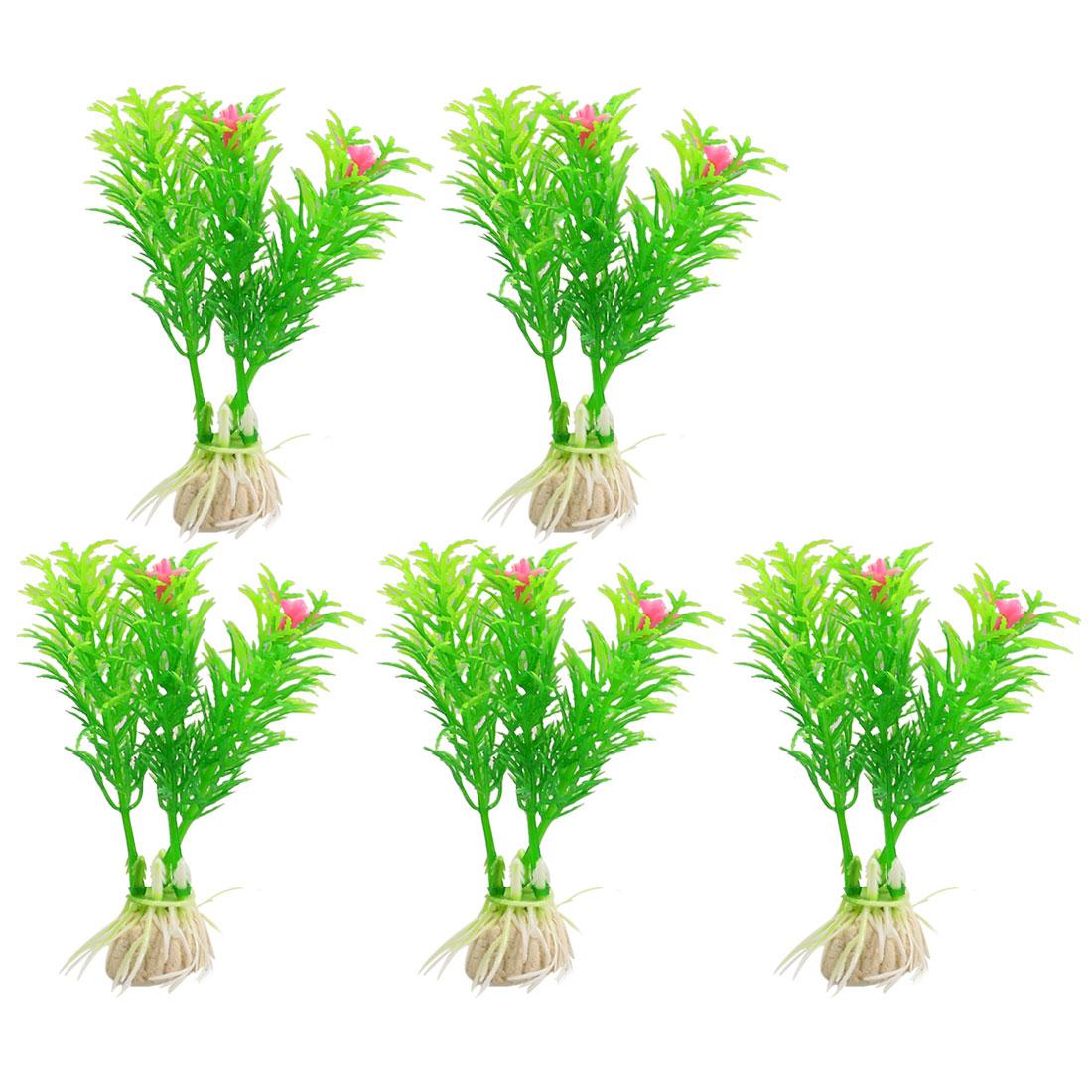 """5 Pcs Green Pink Floral Artificial Plastic Grass Plant 3.1"""" Heiht for Aquarium"""