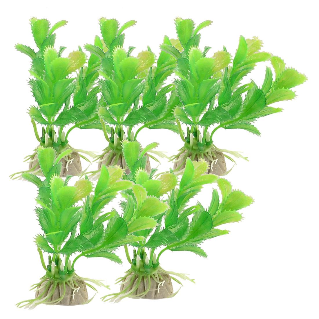 "5 Pcs Green Emulational Plastic Grass Plant 3.1"" Heiht for Aquarium"