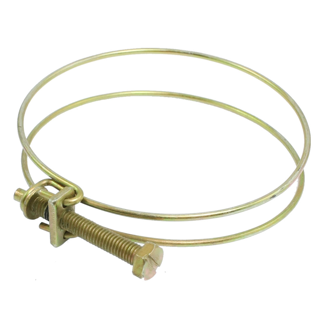 "Brass Tone Metal 3""-3.5"" Double Hoop Ring Adjustable Hose Clamps"