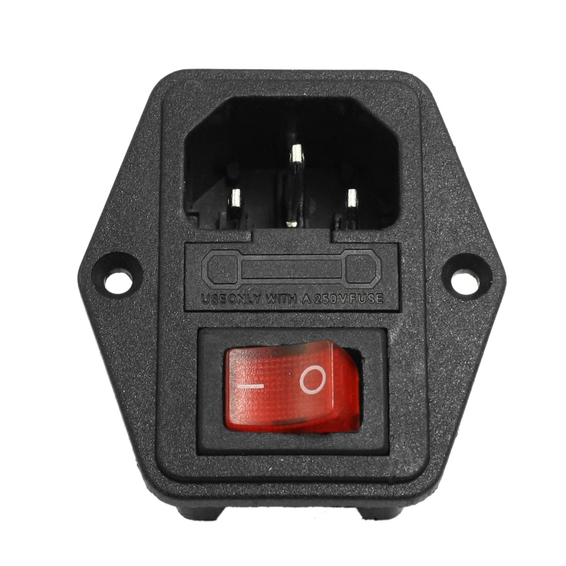 3P IEC320 C14 Power Socket AC 250V 10A w Fuse Holder Black Red
