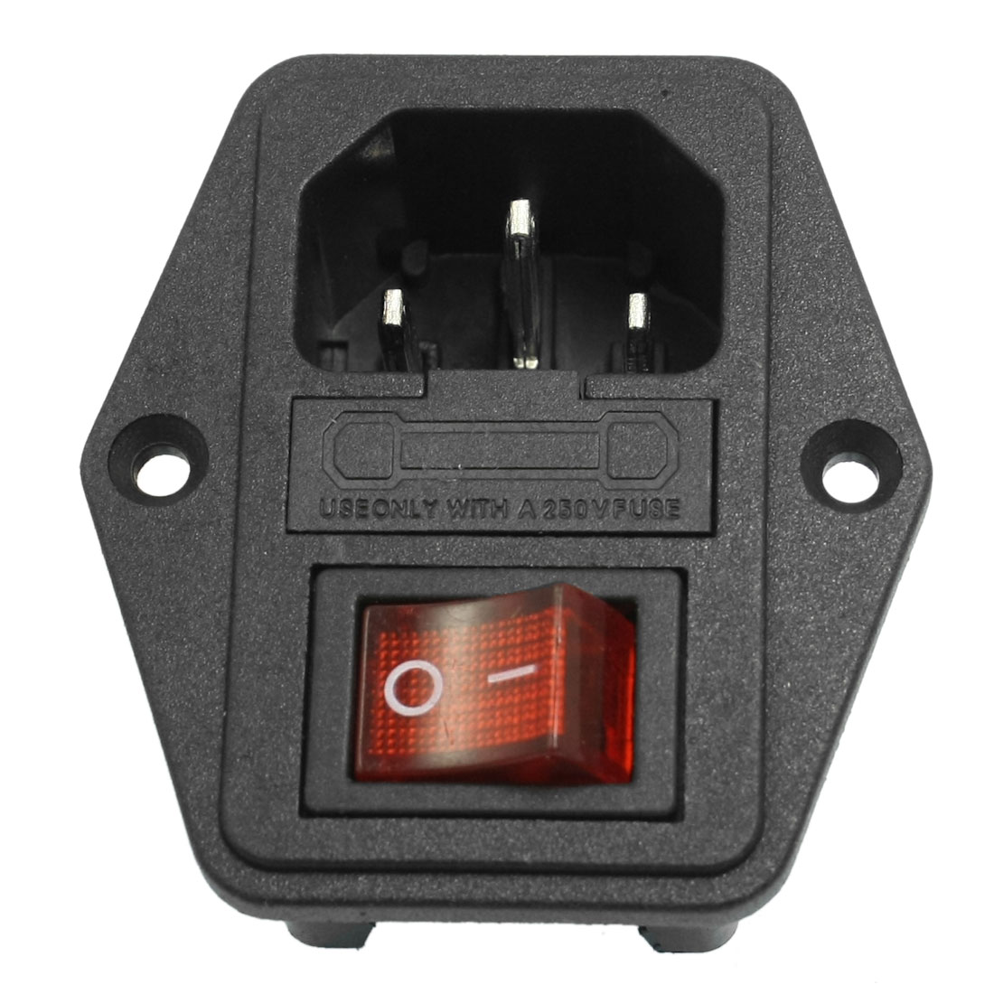 AC 250V 10A 3P IEC320 C14 Inlet Connector Power Socket + Fuse Holder Black Red