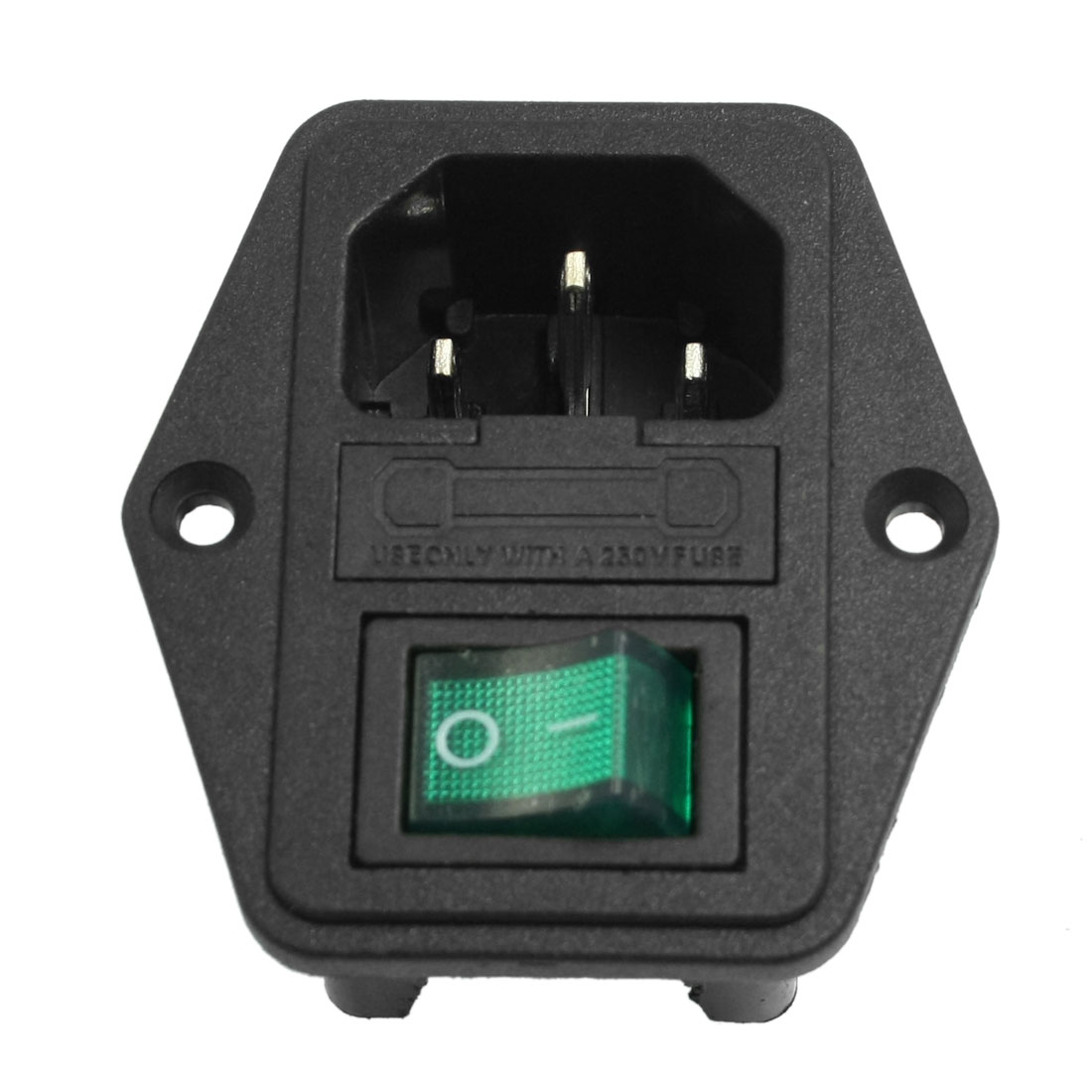 Black Green Plastic Housing IEC320 C14 Power Socket 3 Poles w Fuse Holder