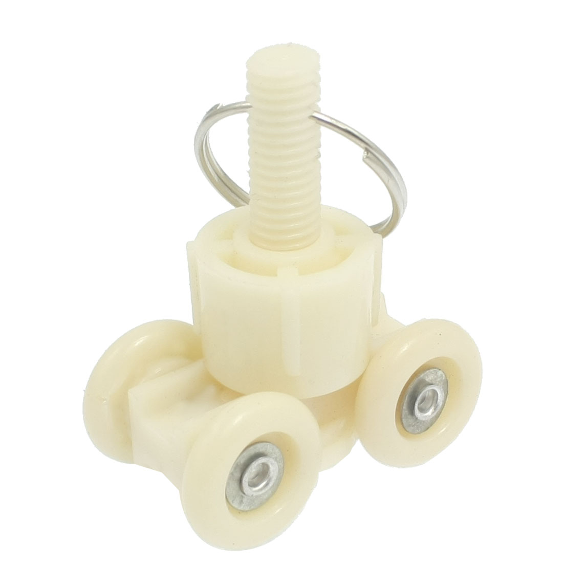 "Beige Nylon 0.7"" Diameter Four Wheels Sliding Door Roller Pulley"
