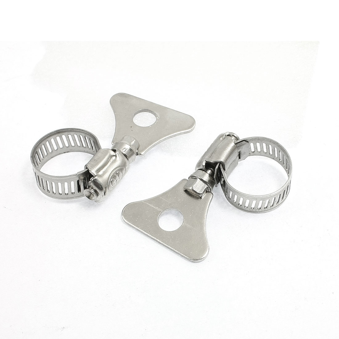 2 Pcs Stainless Steel 13-19mm Hoop Ring Adjustable Hose Clamp
