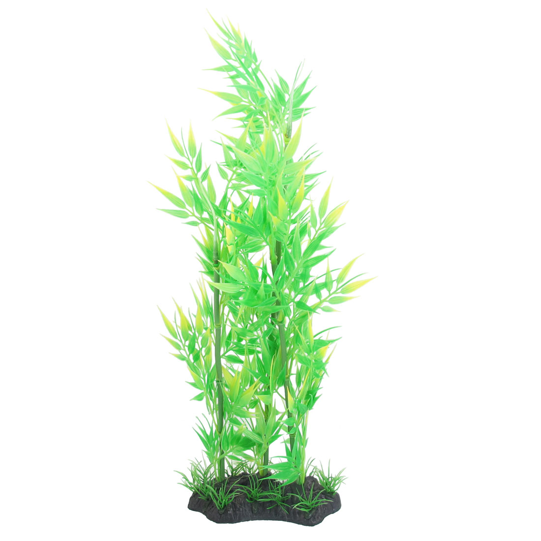 "14.6"" Height Green Yellow Plastic Bamboo Ornament Fish Aquarium Plant"