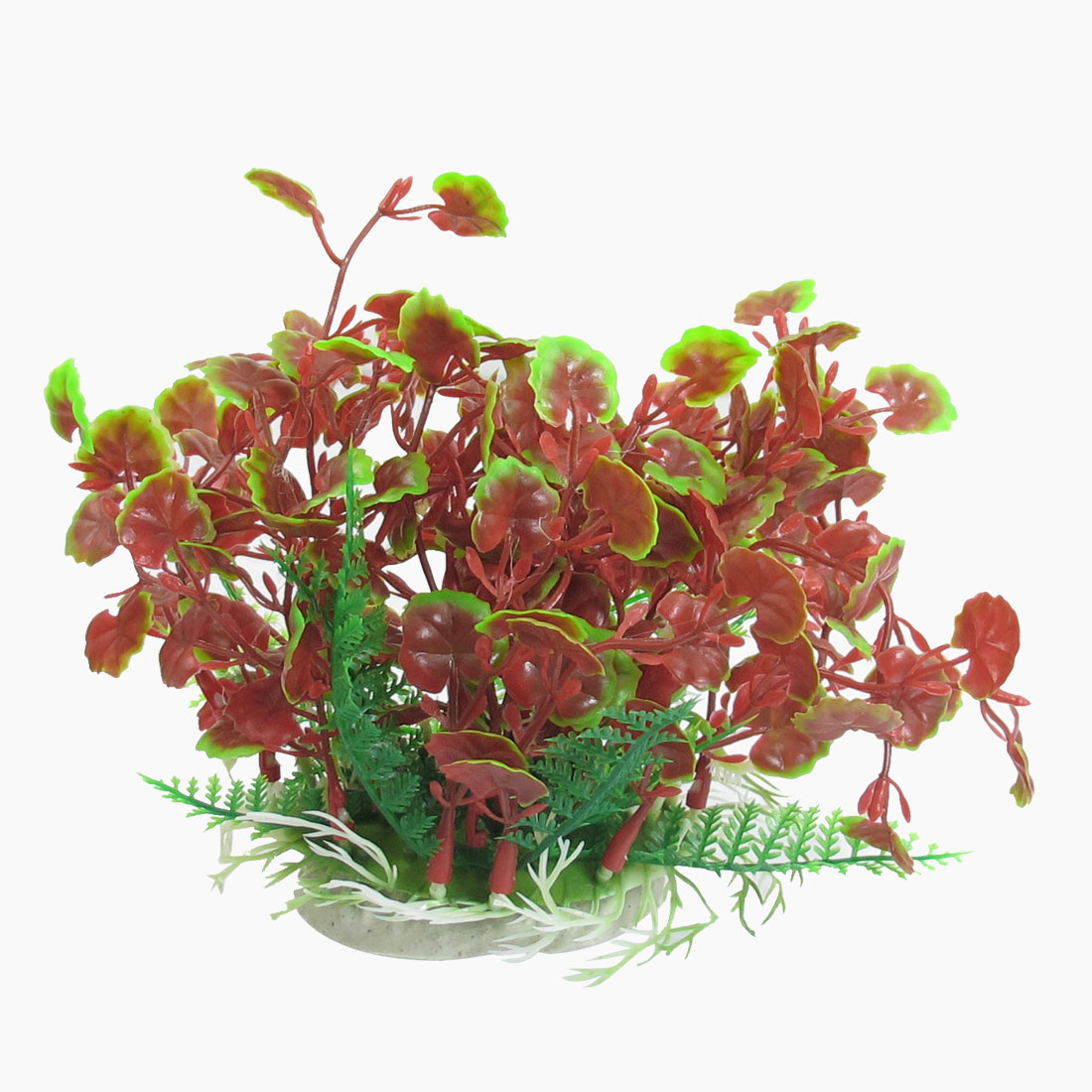 "5.9"" Height Green Red Artifical Plastic Grass Ornament Fish Aquarium Plant"