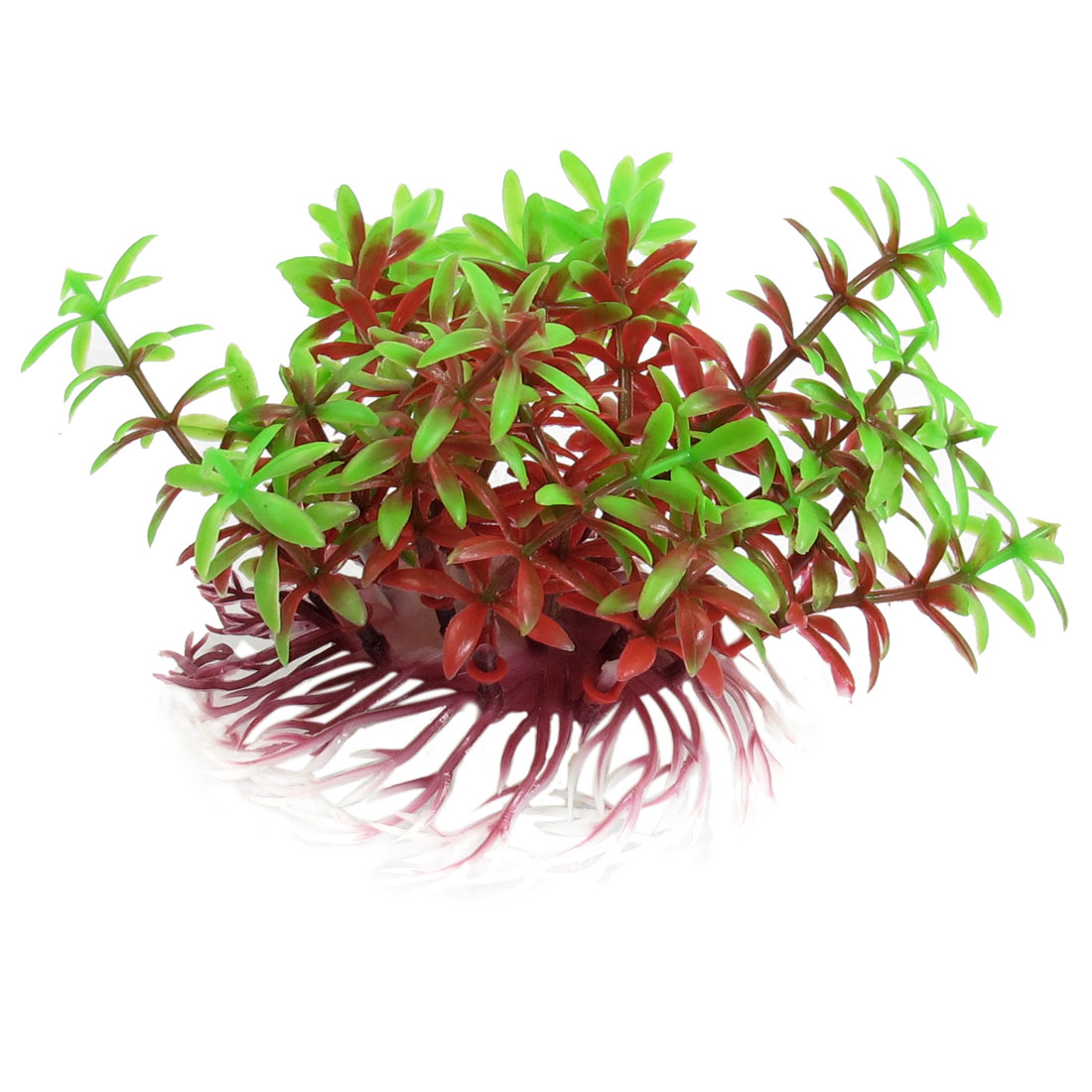 "5.5"" Width Green Red Artifical Plastic Grass Ornament Fish Aquarium Plant 3.9"""