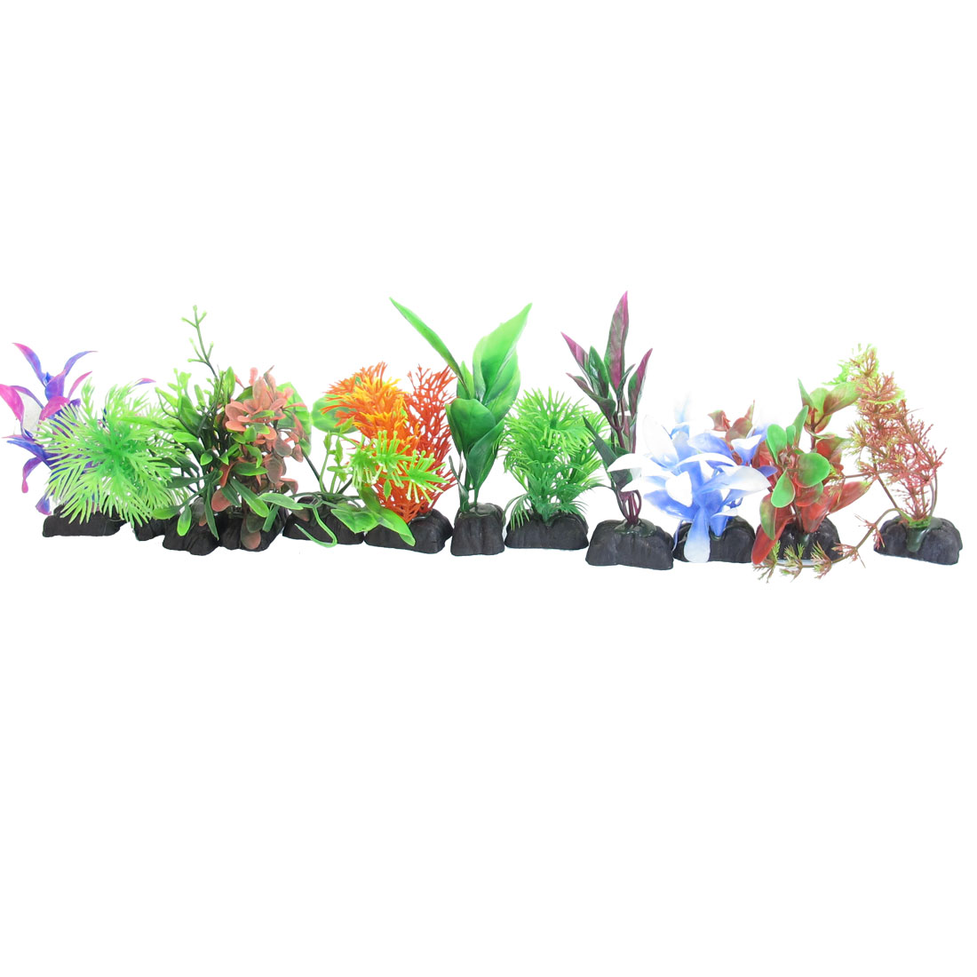 "4.3"" Height Assorted Color Artifical Plastic Fish Aquarium Plant Ornament 12 Pcs"