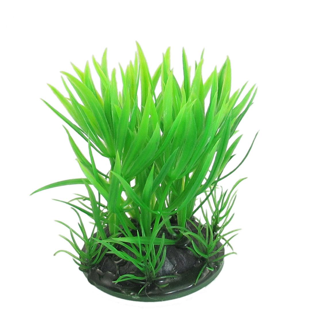 "3.5"" Height Green Artifical Plastic Grass Ornament Fish Aquarium Plant"