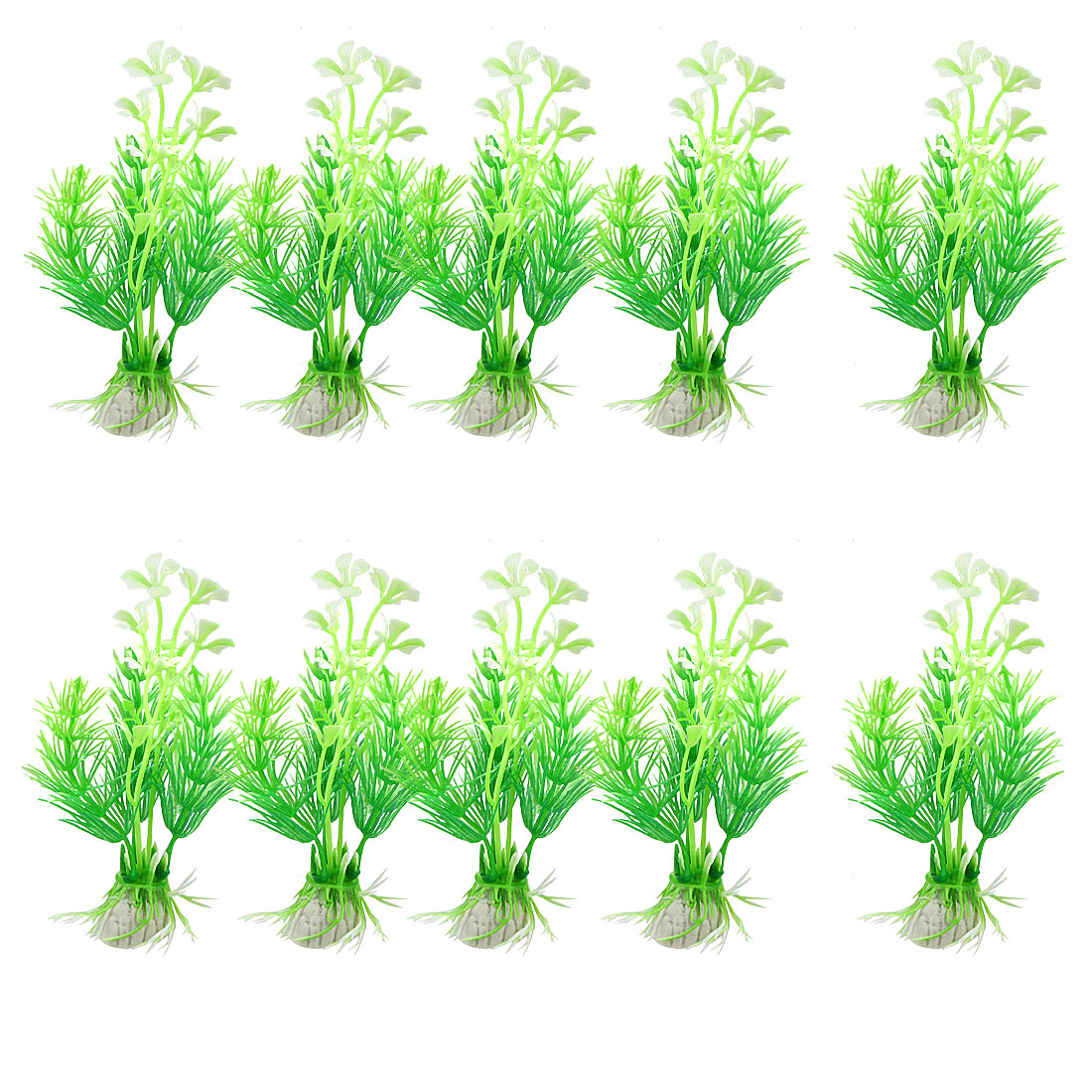 "10 Pcs 3.9"" High Green White Aquarium Ornamental Simulation Aquatic Grasses"