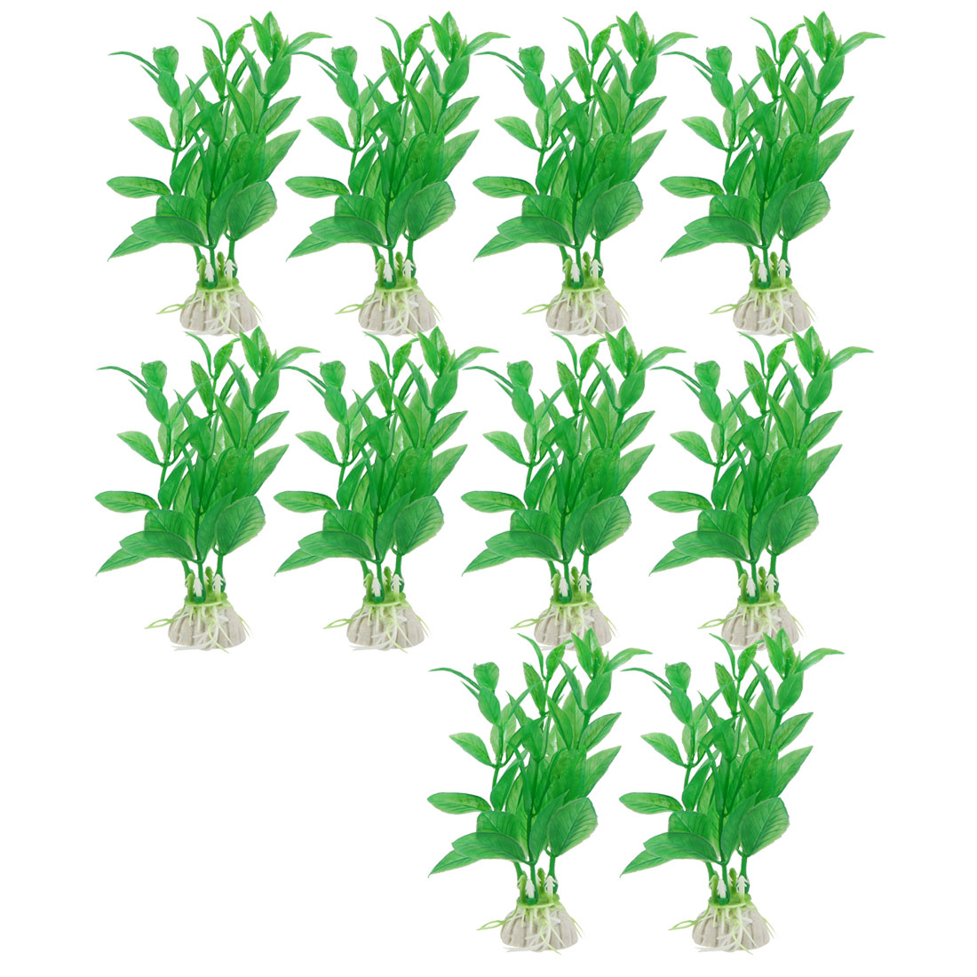 "10 Pcs 3.5"" High Green Aquarium Landscaping Simulation Aquatic Grass Decor"