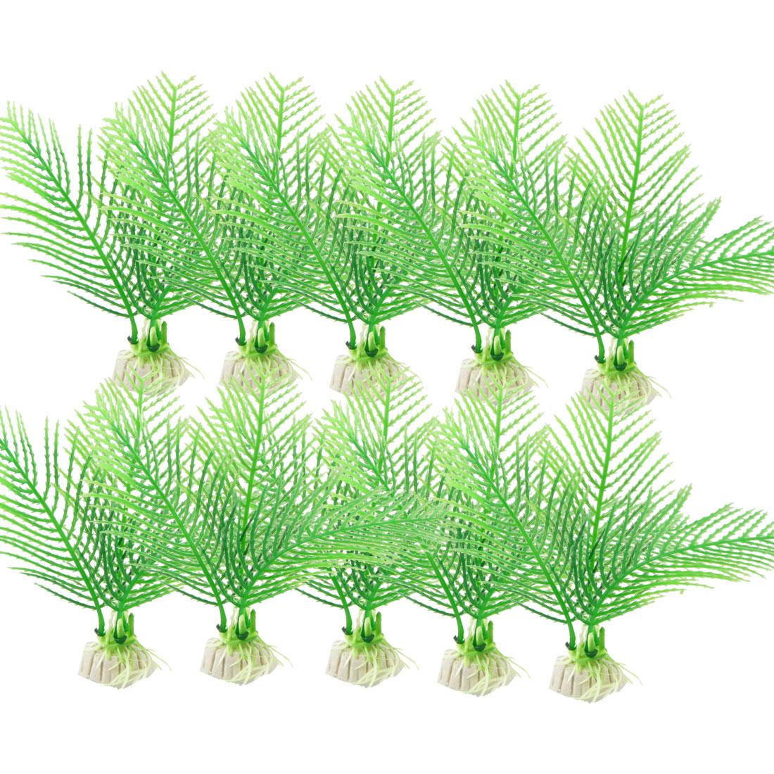 """10 Pcs 4.3"""" High Green Aquarium Landscaping Simulation Ornamental Aquatic Grass"""