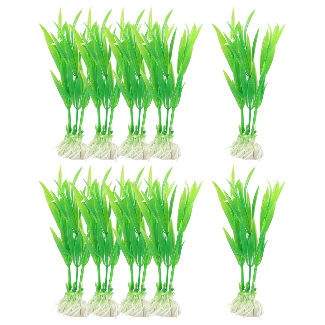 "10 Pcs 4.3"" High Green Slender Leaf Flower Decor Simulation Aquatic Grasses"