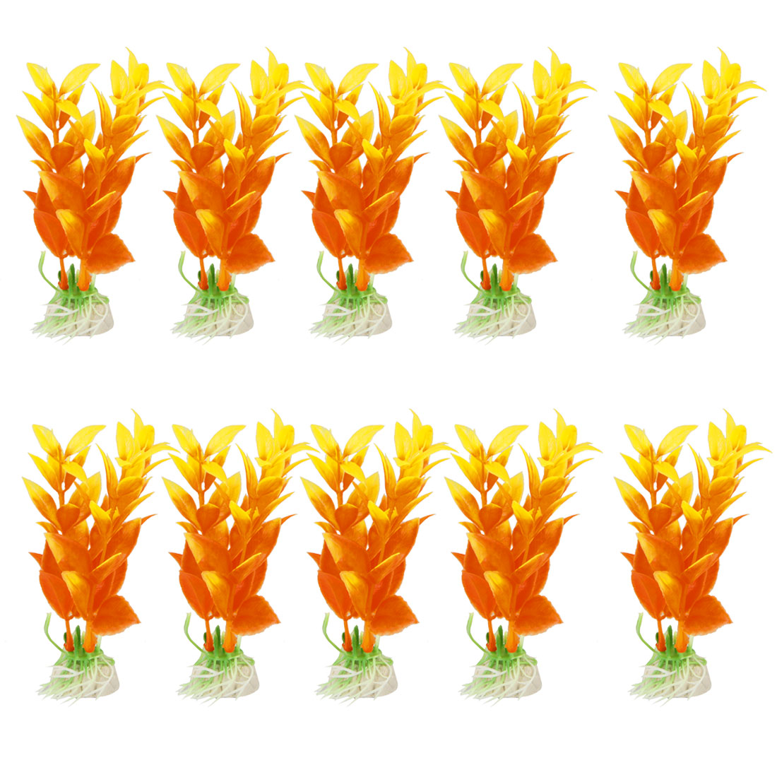 "10 Pcs 3.5"" High Orange Aquarium Aquascaping Simulation Aquatic Grass Decor"