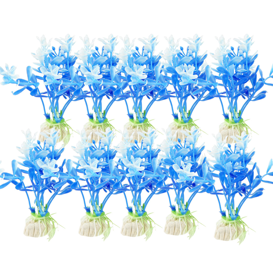 "10 Pcs 3.1"" High Blue White Fish Tank Simulation Plastic Aquatic Grass Decor"
