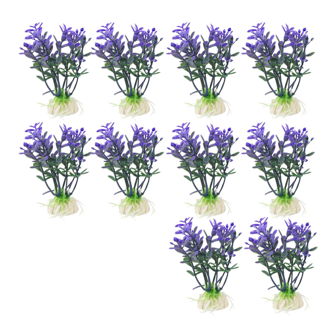 "10 Pcs 3.1"" High Green Purple Aquarium Simulation Aquatic Flower Grass Decor"
