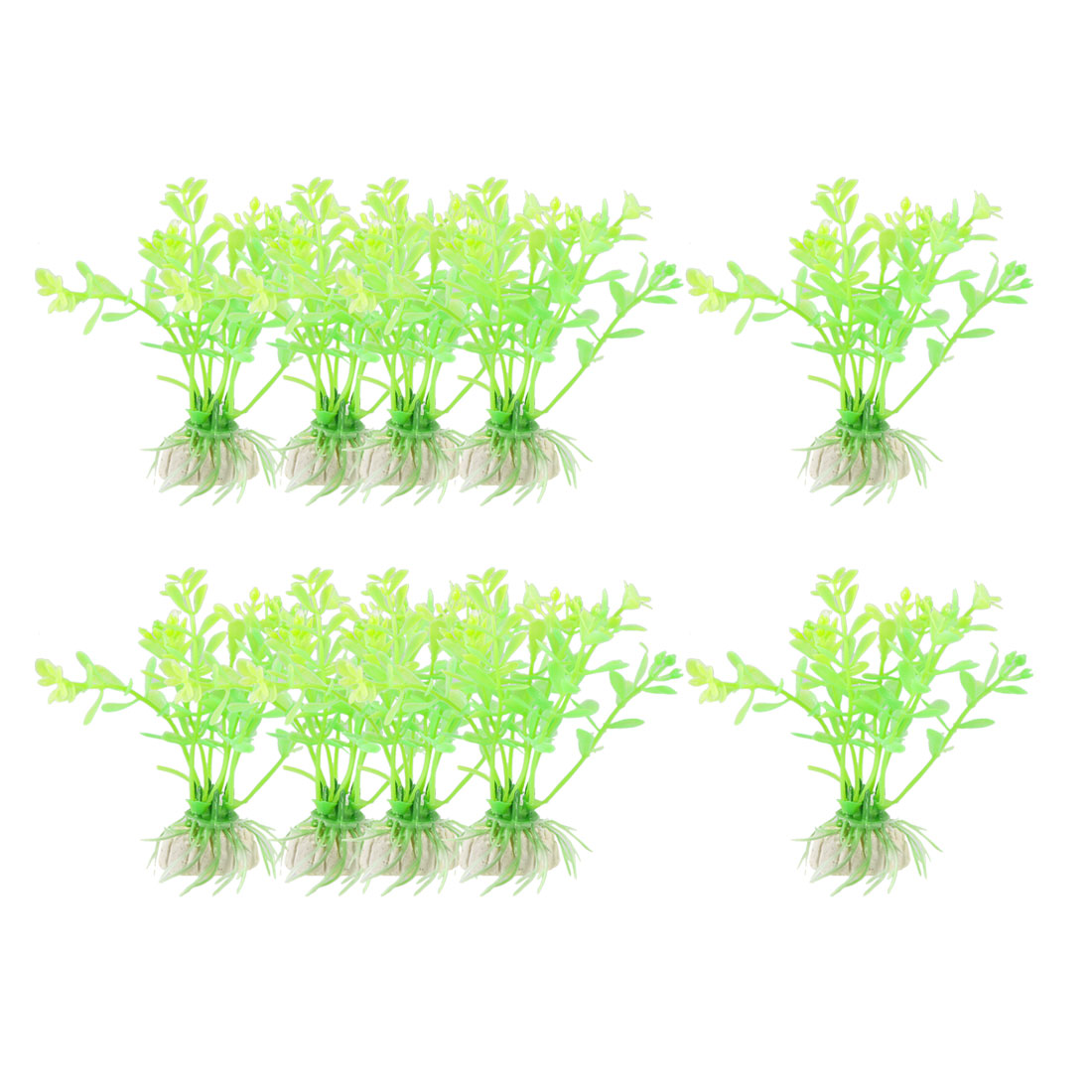 "10 Pcs 3.1"" High Green Yellow Aquarium Simulation Plastic Aquatic Grass Decor"