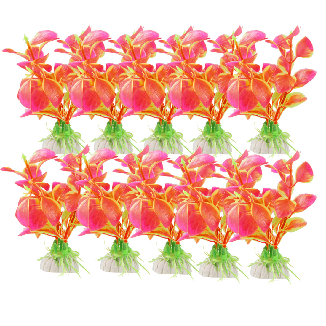 "10 Pcs 3.1"" High Pink Green Fish Tank Aquascape Simulation Aquatic Grasses"