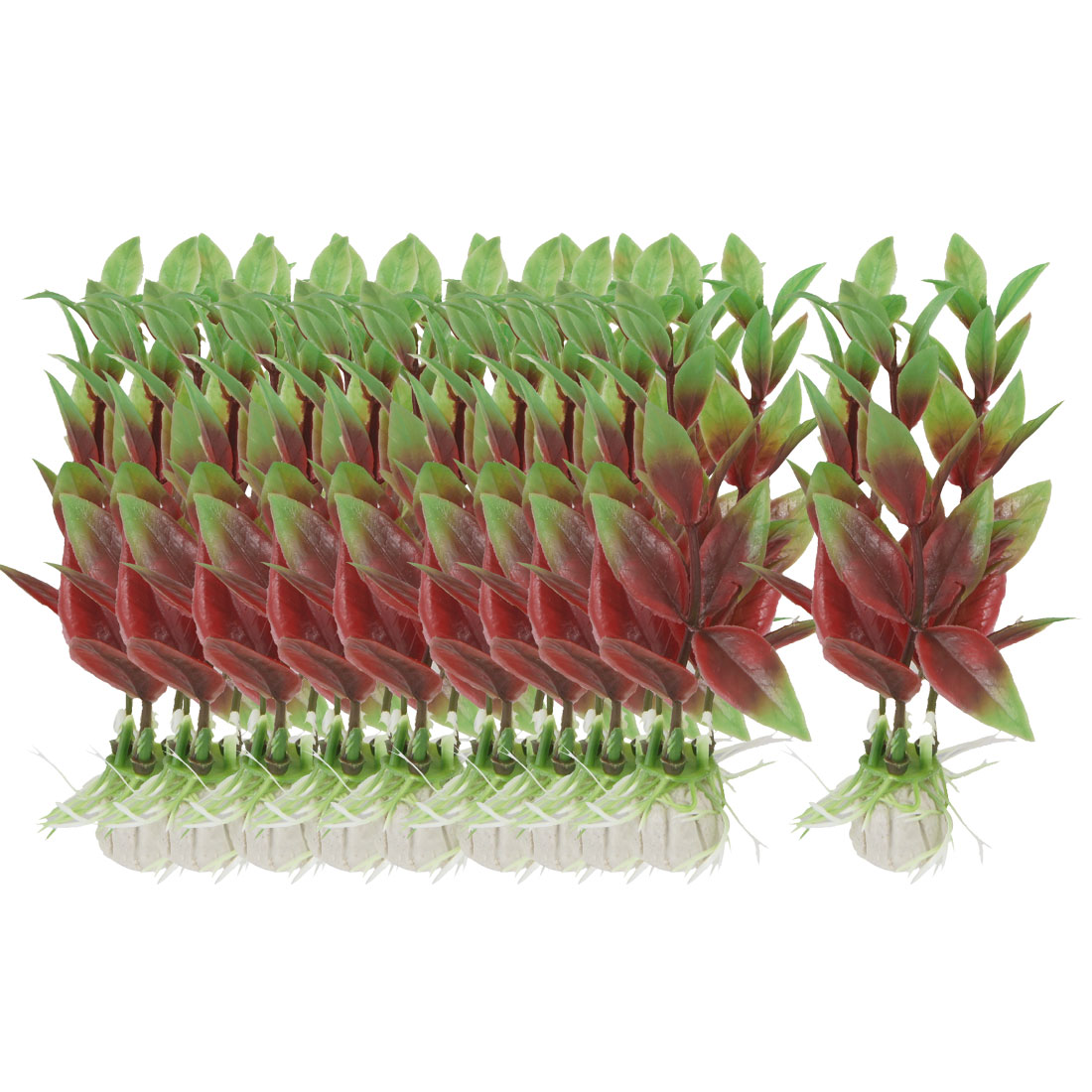 """10 Pcs 3.5"""" High Red Green Aquarium Decorative Simulation Aquatic Grasses"""