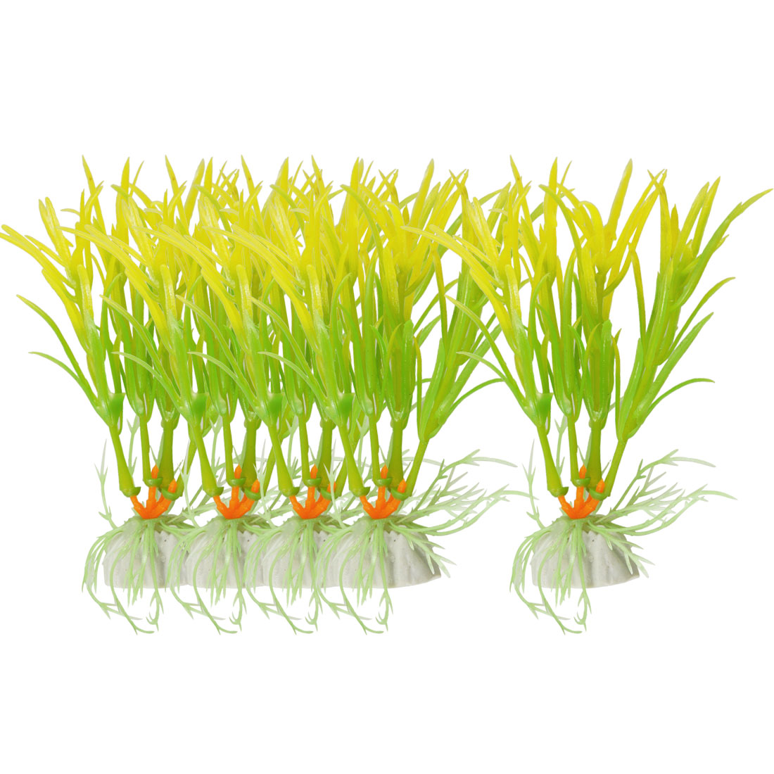 "4.5"" Height Green Yellow Plastic Grass Water Plants Fish Aquarium 5Pcs"