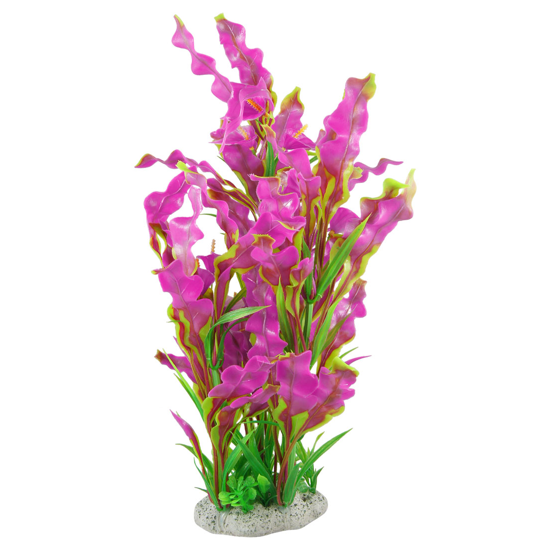 "15.7"" Height Fuchsia Green Plastic Flower Decor Water Plants Fish Aquarium"