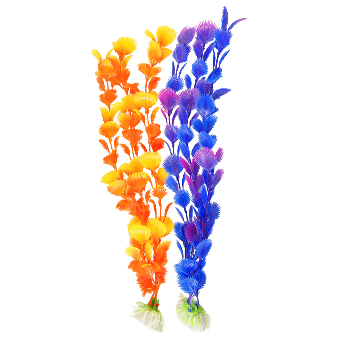 "13.8"" Height Colorful Plastic Leaves Decor Water Plants Fish Aquarium 2 Pcs"