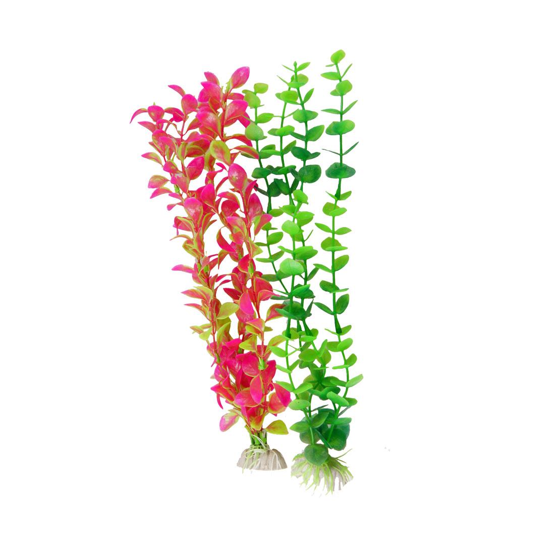 "13.8"" Height Fuchsia Green Simulated Plastic Leaves Decor Fish Aquarium 2 Pcs"