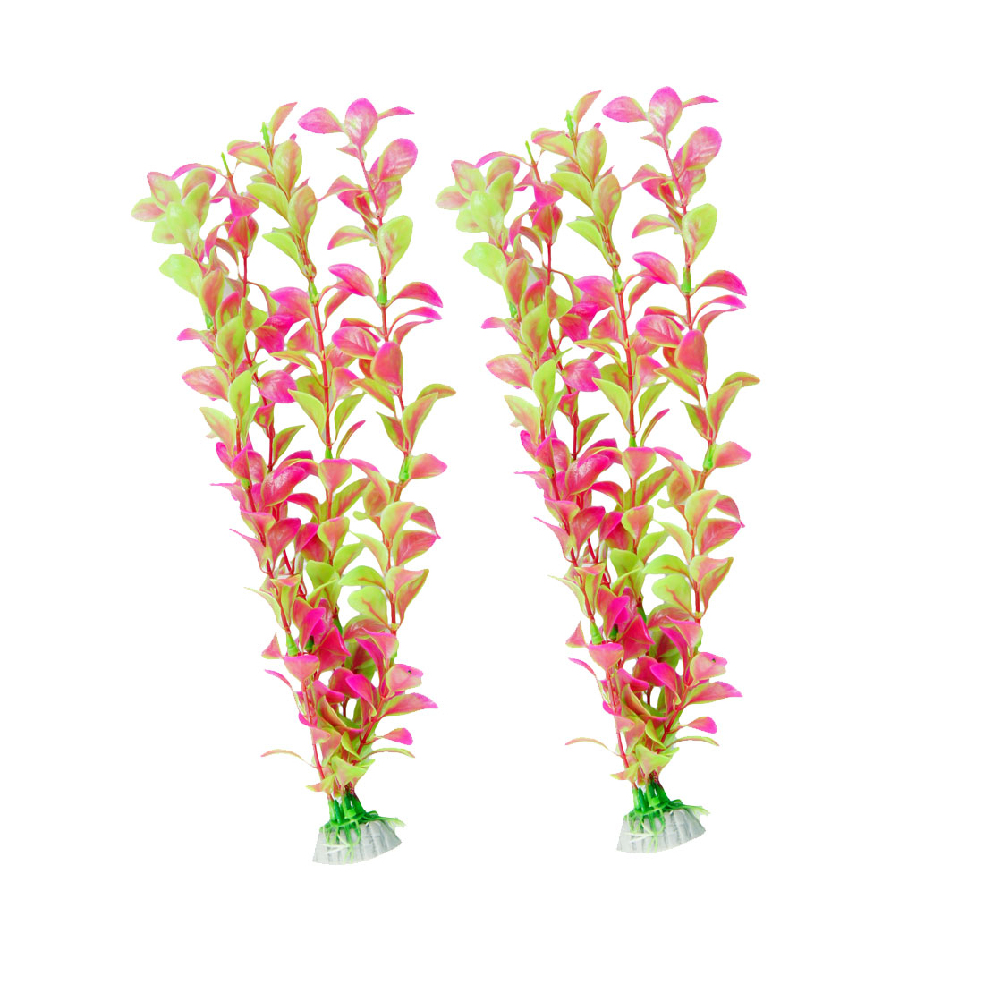 "13.8"" Height Fuchsia Green Plastic Leaves Decor Water Plants Fish Aquarium 2 Pcs"