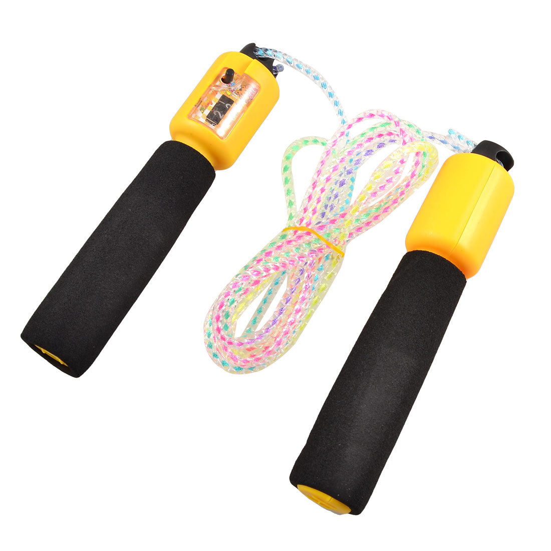 Gym Exercise Antislip Handle Counter Skip Jumping Rope Black Yellow 8.2 Ft Long