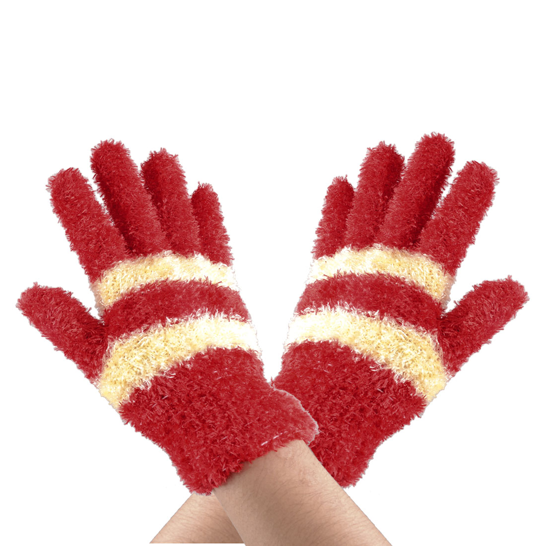 Girl Red Yellow Striped Full Fingers Winter Plush Gloves Pair