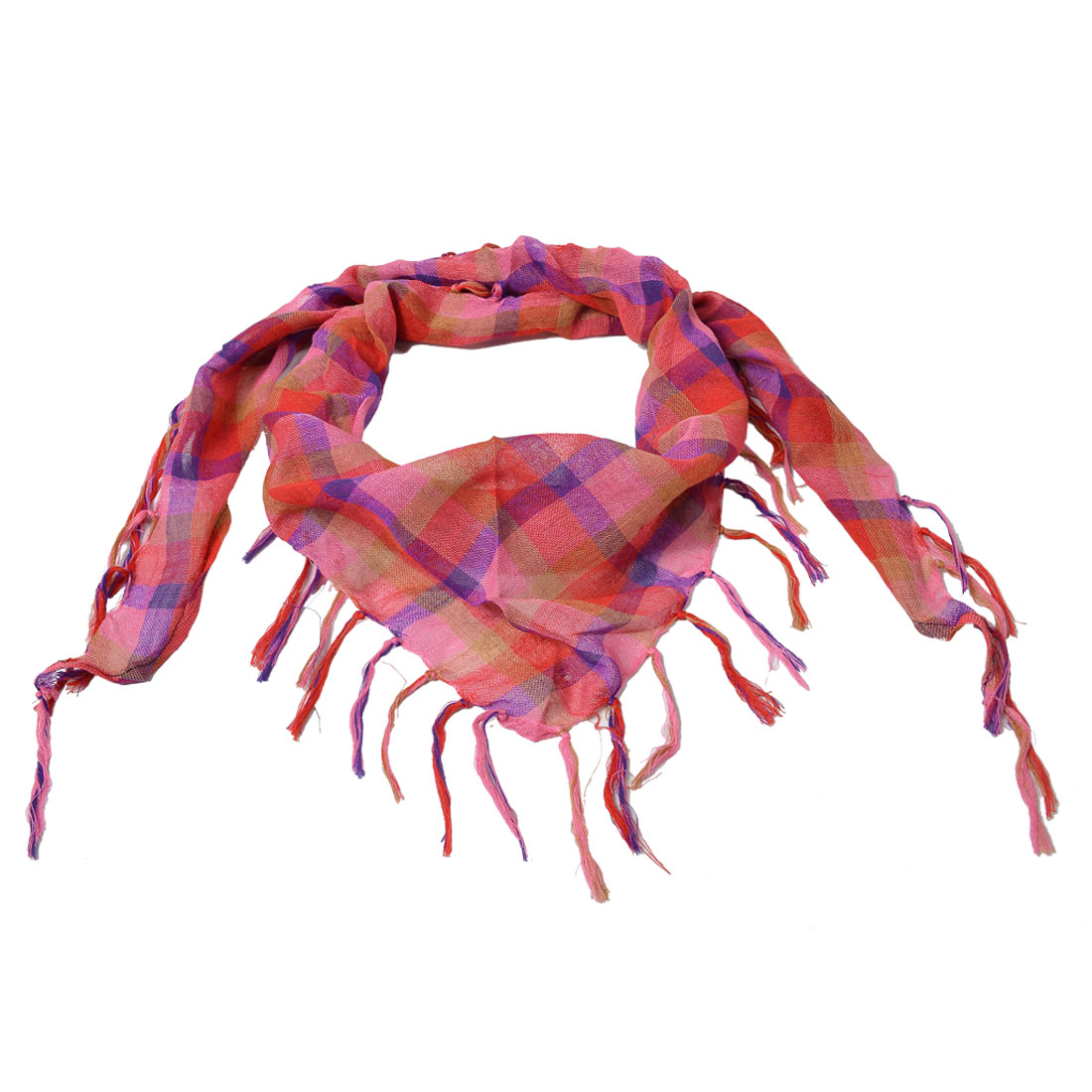 Woman Plaid Pattern Pink Red Triangle Neckwear Thin Scarf