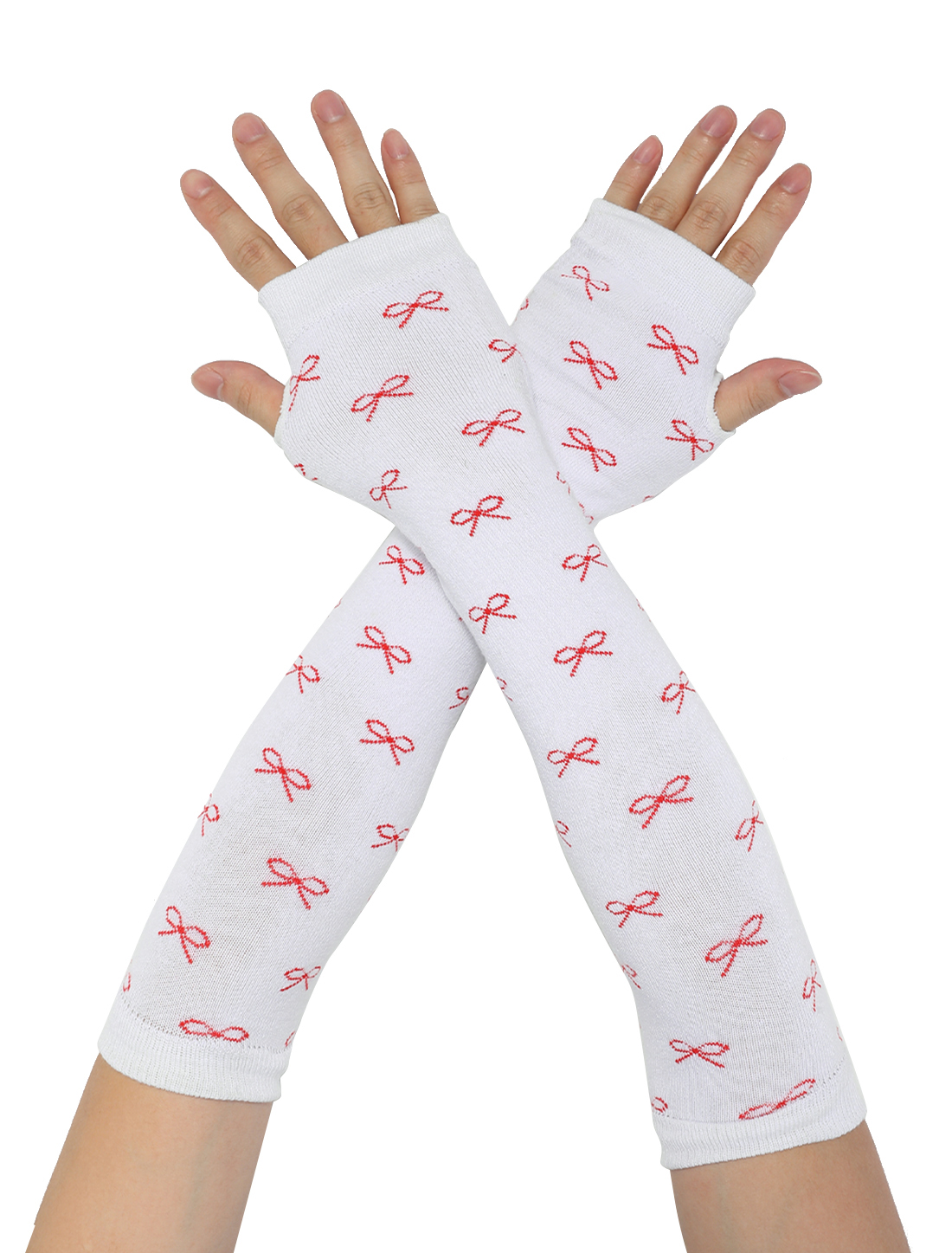 Woman Acrylic Bowknot Decor White Red Fingerless Arm Warmer Long Gloves Pair