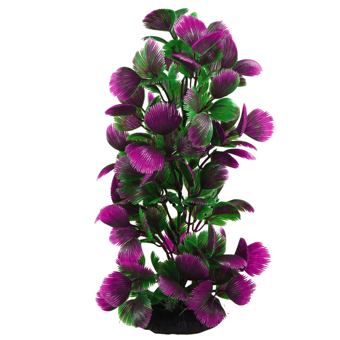 Green Purple Plastic Tree Shape Ornament Water Fish Aquarium Plants 8.7""