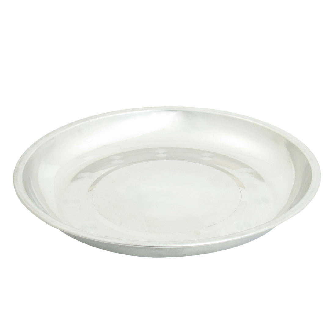 "6.1"" Diameter Silver Tone Strainless Steel Vegetables Dish Plate"