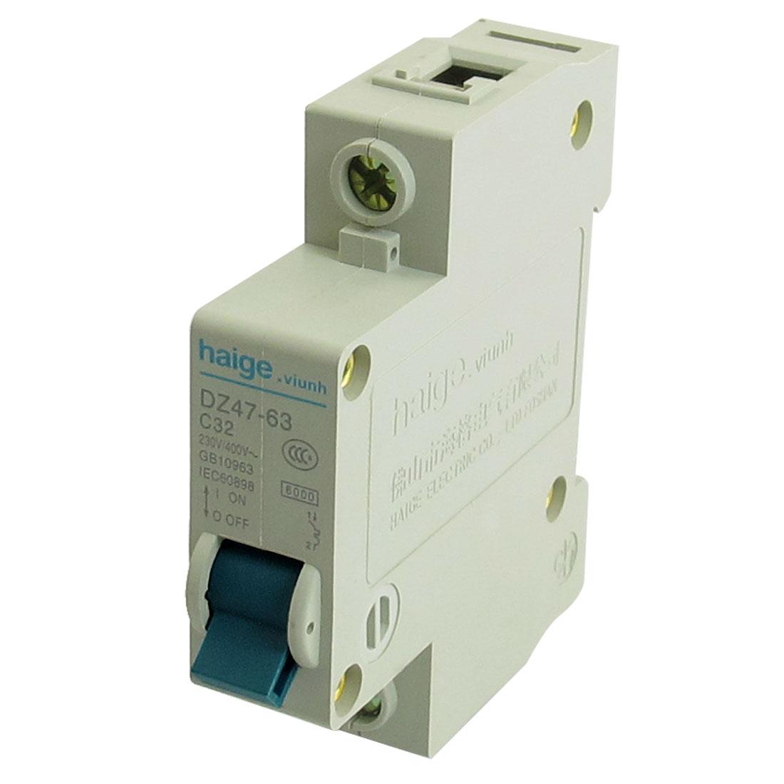AC 230V 400V 32A 1 Pole MCB Miniature Circuit Breaker DZ47-63 C32