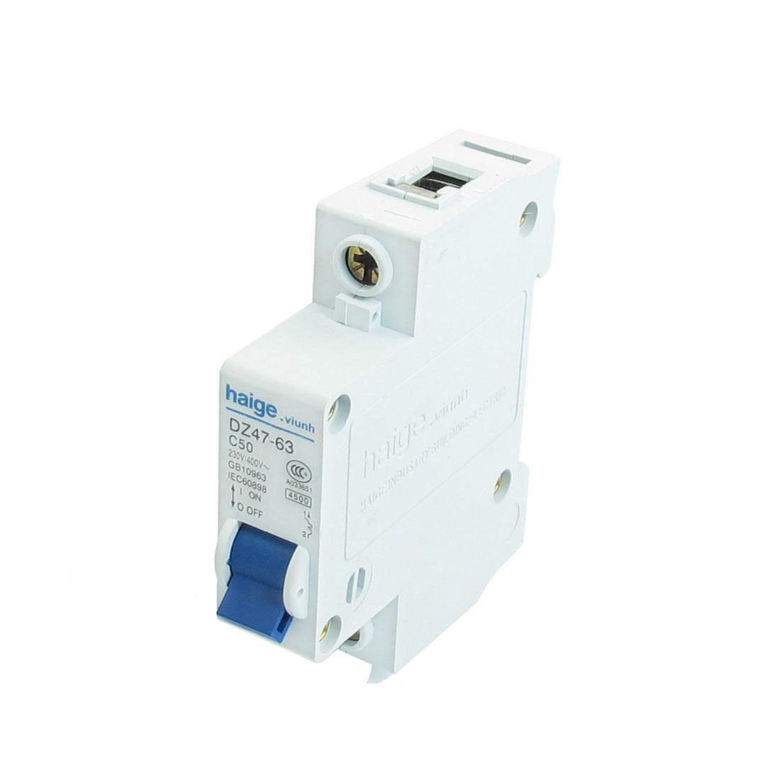 AC 230V 400V 50A 1 Pole MCB Miniature Circuit Breaker DZ47-63 C50