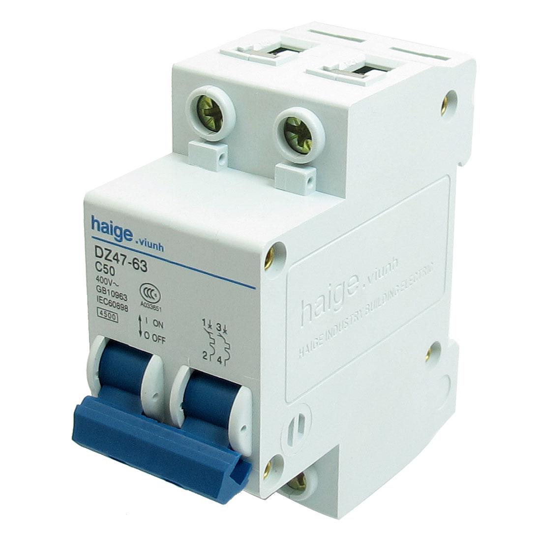 AC 400V 50A 4500A 2 P MCB Miniature Circuit Breaker DZ47-63 C50