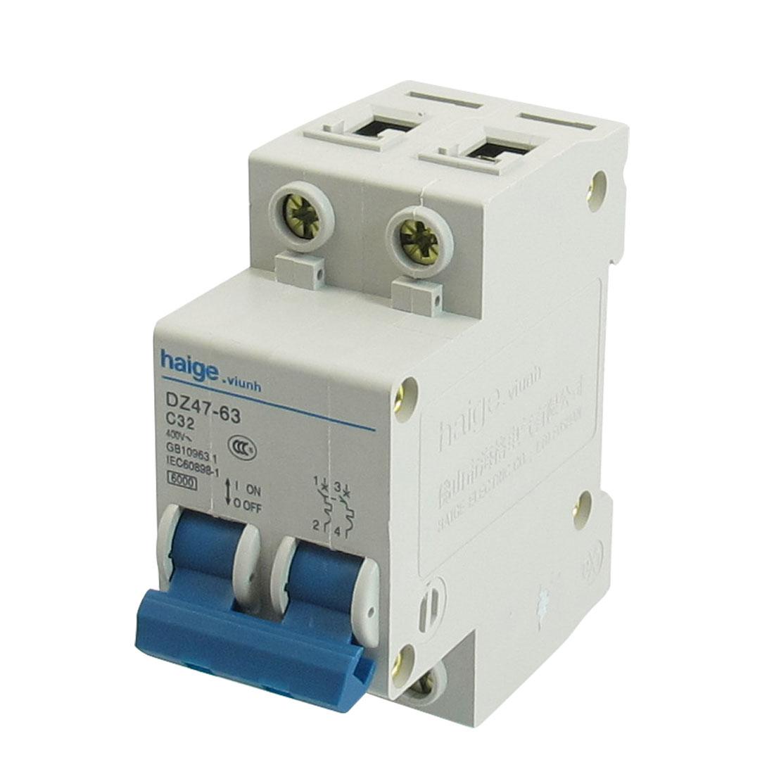 AC 400V 32A 6000A 2 P MCB Miniature Circuit Breaker DZ47-63 C32