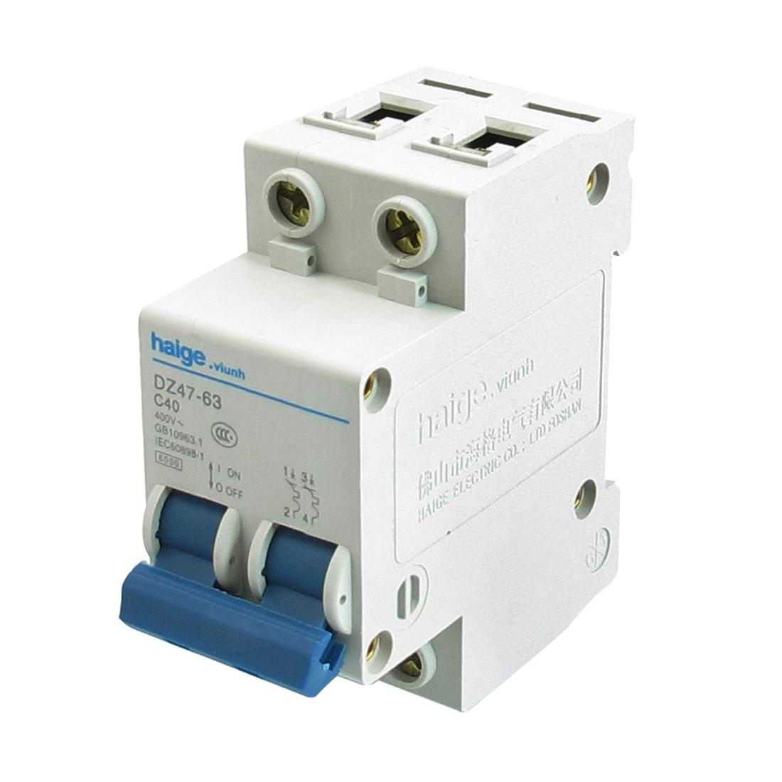 AC 400V 40A 6000A 2 P MCB Miniature Circuit Breaker DZ47-63 C40