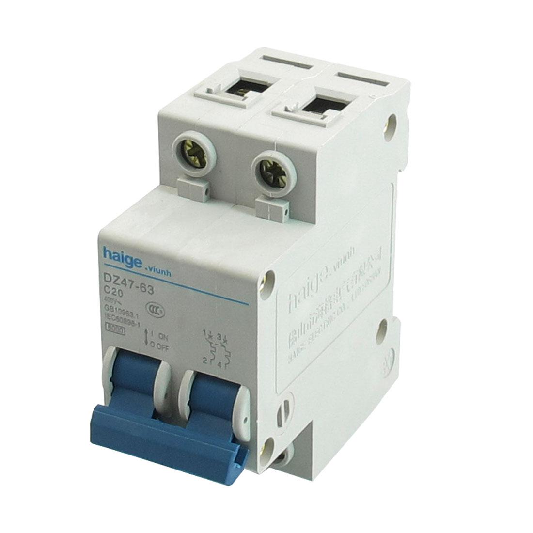 AC 400V 20A 6000A 2 P MCB Miniature Circuit Breaker DZ47-63 C20