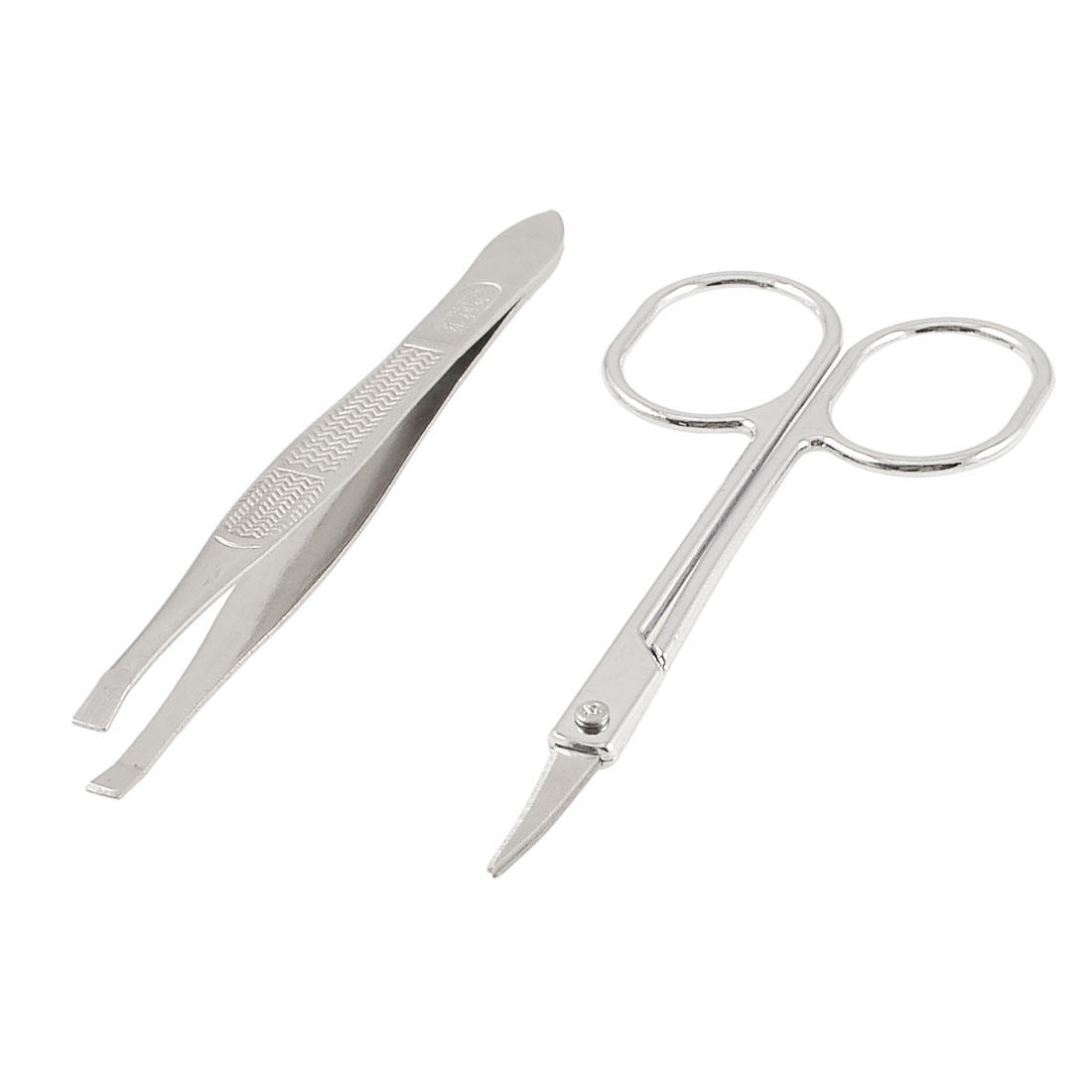 2 in 1 Metal Eyebrow Clips Scissors Cosmetic Tool Set for Lady