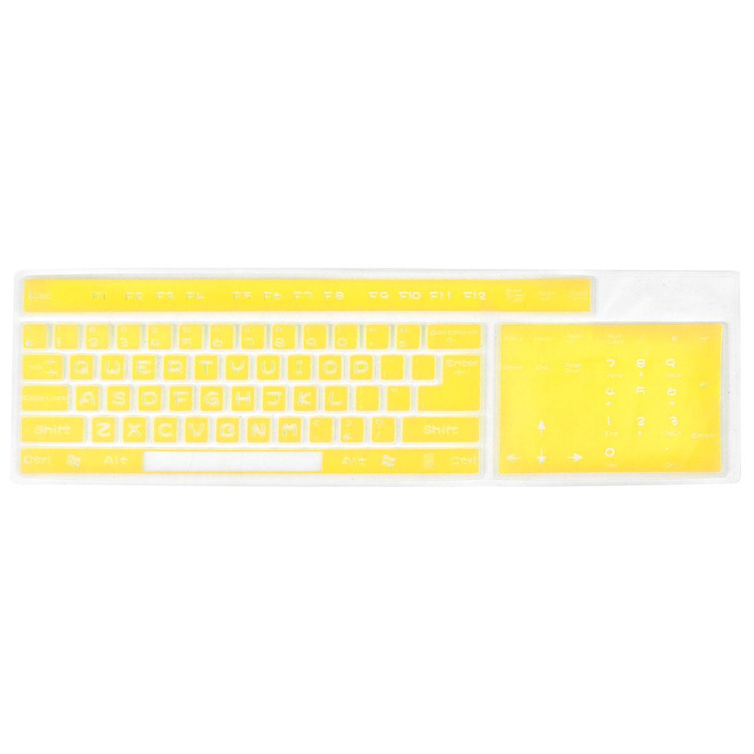 Flexible Silicone Keypad Keyboard Shield Guard Film Yellow Clear for Desktop