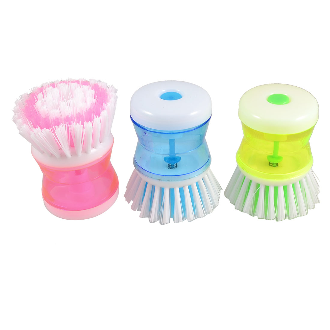 Assorted Color Plastic Grip Kitchen Wok Pot Self Dispensing Brush Cleaner 3 Pcs