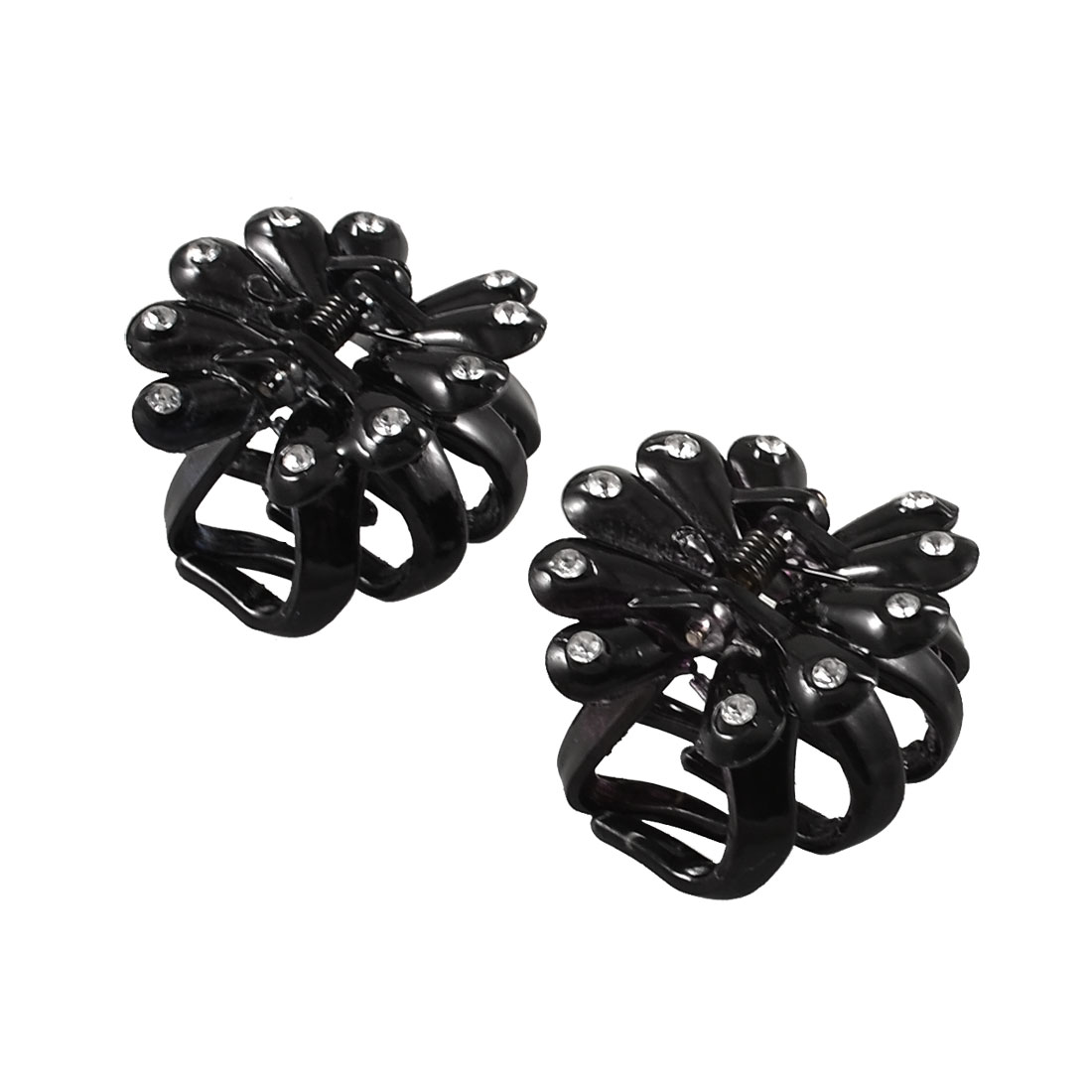 Woman Head Decor Rhinestones Inlaid Bowknot Design Black Plastic Hair Claw Clip 2 Pcs