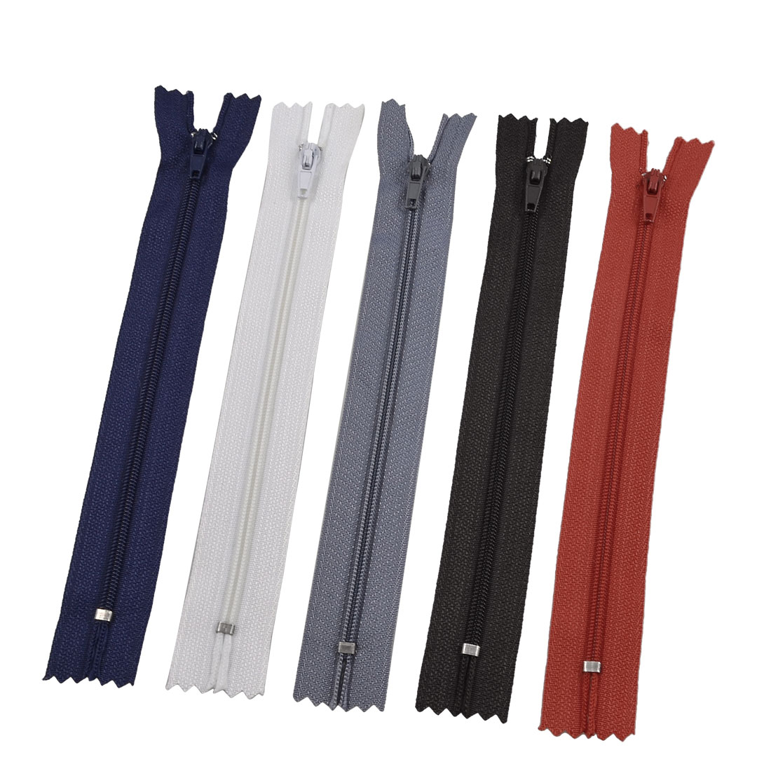 "8"" Length Assorted Color Polyester Tape Zipper Fastener 5 Pcs"