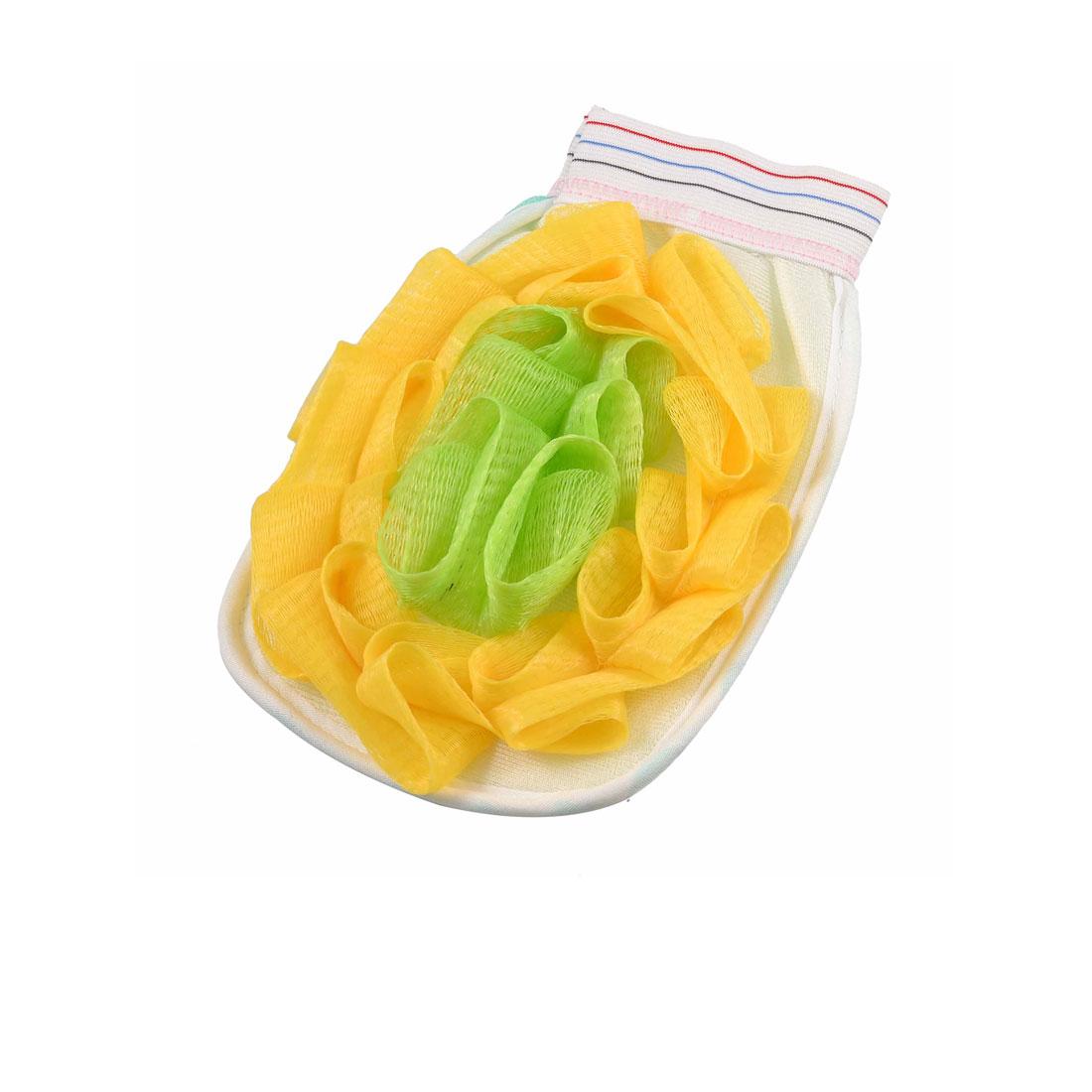 Home Bathroom Nylon Mesh Cotton Shower Bath Glove Mitt Yellow Green